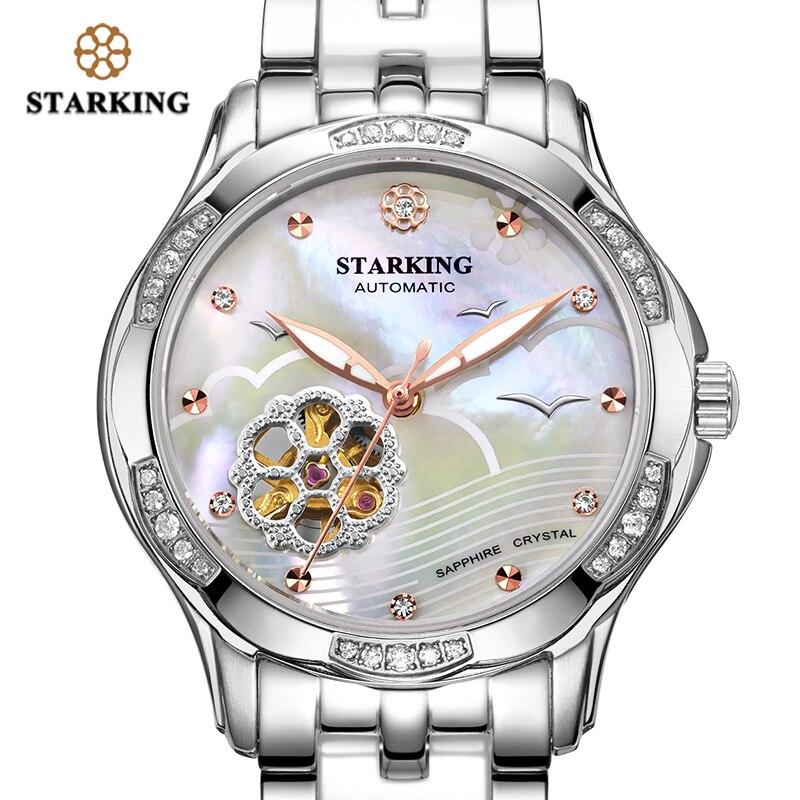 STARKING Women Automatic Watch Rose Gold Steel Case Vogue Dress Watches Skeleton Transparent Watch Women Mechanical Wristwatches enlarge