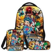 2020 New Hot 3 Pcs/set Children School Bags 3D Beyblade Burst Game Pattern School Backpack Teen Boys Girls Kids Bookbag
