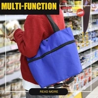 2021 creative shopping bag with tugboat 2 in 1 outdoor portable bag eco friendly collapsible oxford cloth wheeled climbing cart
