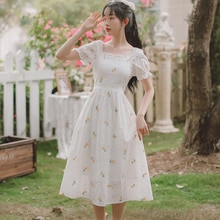 French Retro Square Collar Embroidered Sexy Maxi Party Long Office Casual Dress Elegant With Video V