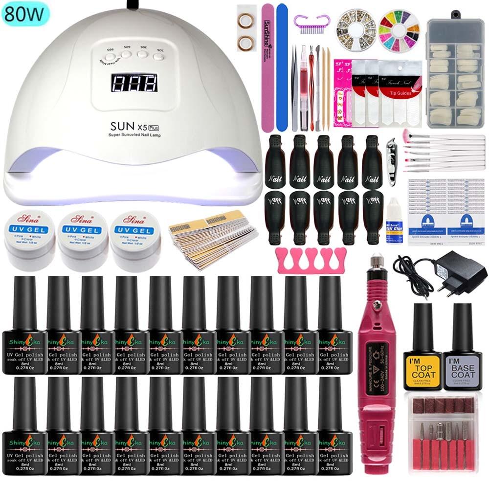 Lámpara de uñas 80w/48w/36w herramienta de manicura Set 20 colores Gel pulido extensión de uñas UV conjuntos de uñas de Gel manicura eléctrica