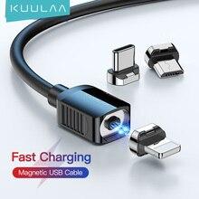 KUULAA manyetik kablo USB tip C kablosu mikro USB C kablo iPhone Xiaomi Samsung için mıknatıs telefon şarj kablosu USBC tel