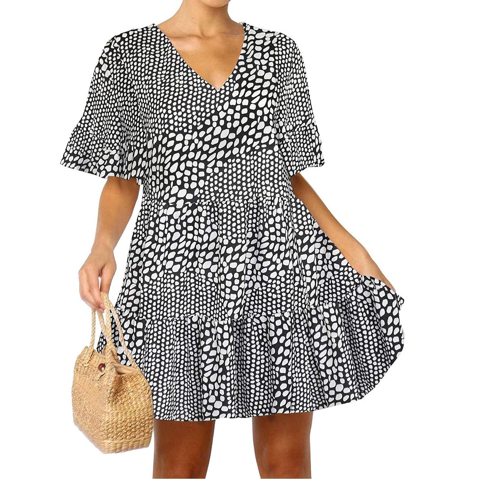 40# Boho Floral Dress Woman Flare Sleeve Ruffle Summer Dress 2021 With Pockets V Neck Loose Swing Tunic Mini Dress Vestidos