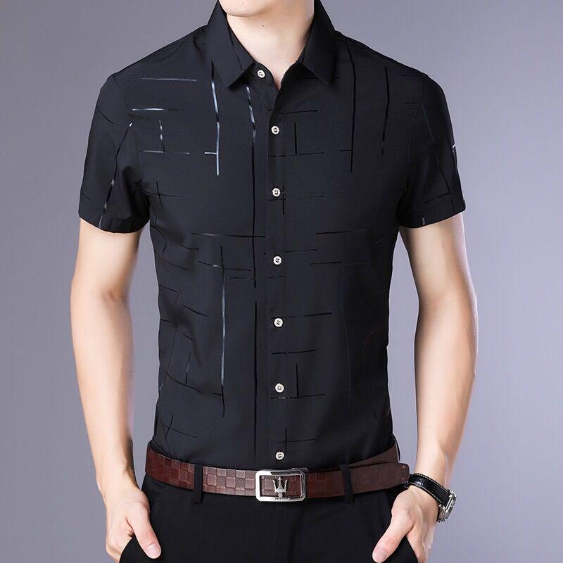 Рубашка мужская с коротким рукавом, крутая деловая повседневная одежда, для лета