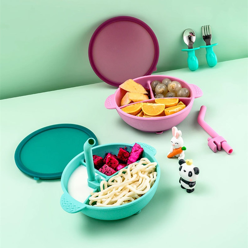 Silicone Suction Bowl with Lid Learning Bowl for Baby Toddler self-Feeding Tableware Training Divided Bowls for Kids and Infants