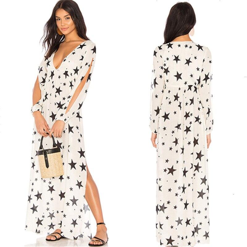 Женское пляжное платье из хлопка, длинное платье-туника с V-образным вырезом и принтом в виде пятиконечной звезды, банное платье с разрезом с...