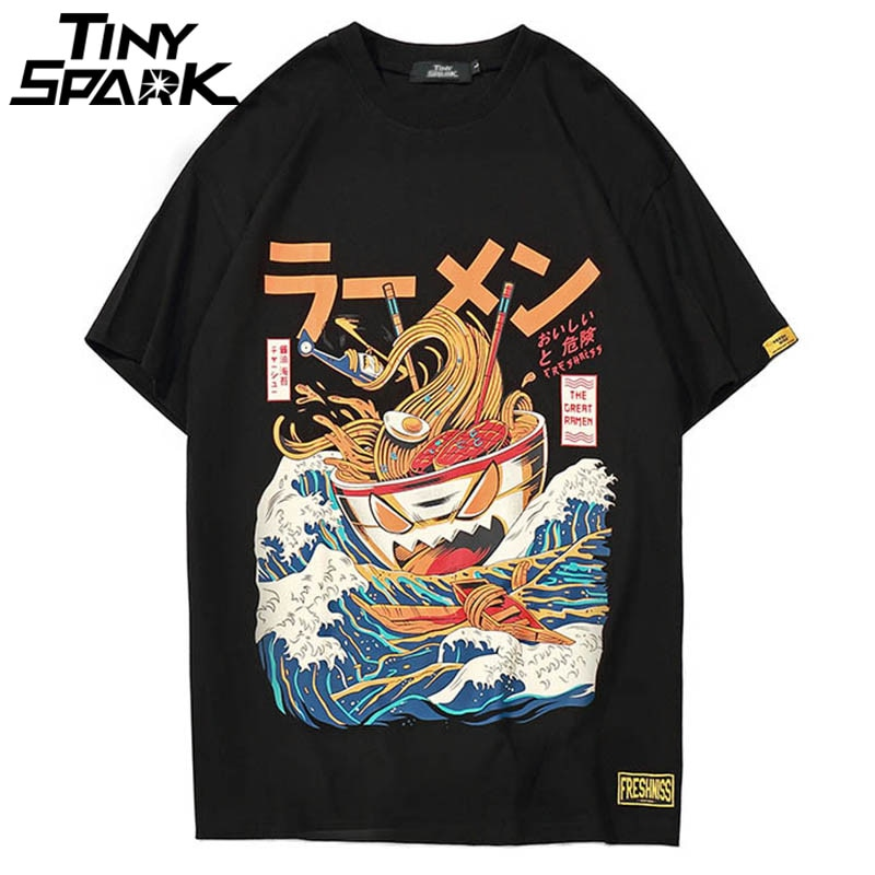 Japanese Harajuku T-Shirt Men 2020 Summer Hip Hop T Shirts Noodle Ship Cartoon Streetwear Tshirts Short Sleeve Casual Top Cotton