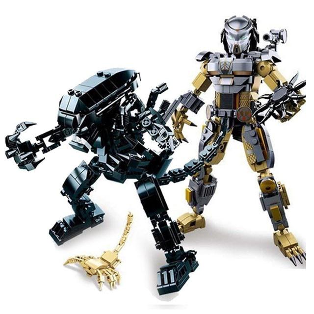 ALIEN VS PREDATORS Robot War Model Building Blocks Sets DIY Creator Construction High-tech Bricks Educational Toys For Children
