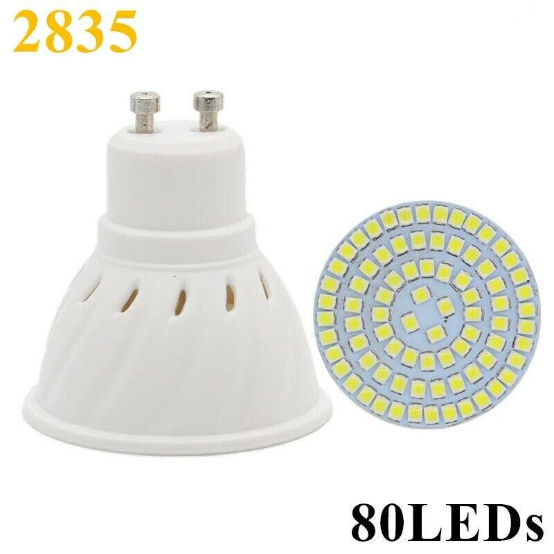 100pcs/lot LED Lamp E27 MR16 GU10 LED Bulb 220V 240V LED Spotlight Bulb Lampada 80LEDs SMD 2835 For Indoor Home Spot Light