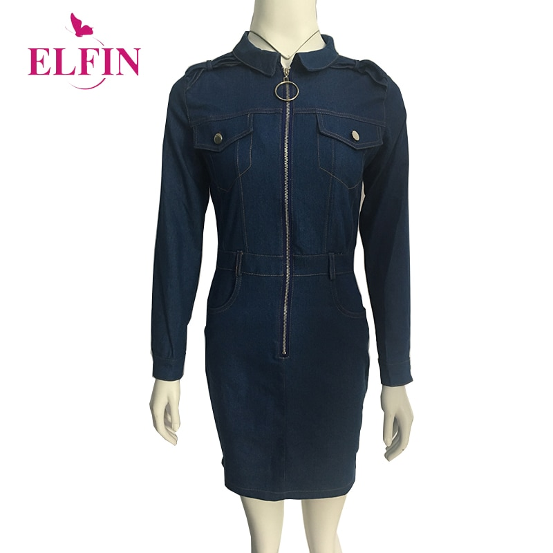 Preppy Vestido Mujer Denim azul manga larga Delgado ajuste hacia abajo cremallera Mini fiesta Casual Vestidos ropa coreana SJ4616R