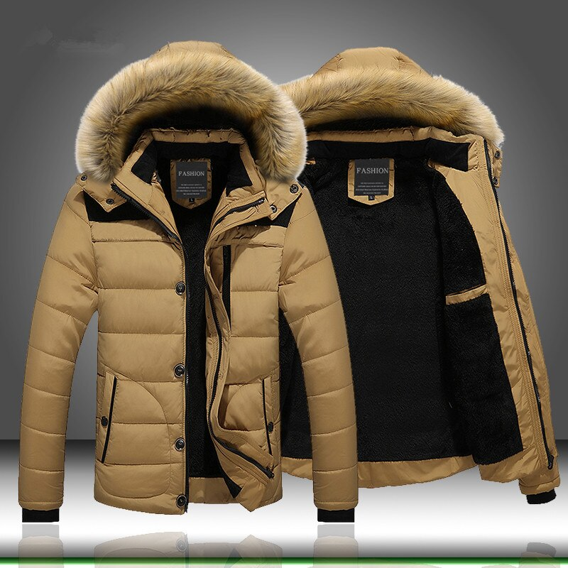 autumn winter mens wool liner long hooded parka warm printed thick coat casual size m xxxxxl t188 Winter Fur Collar Hooded Jacket Coat Men Thick Thermal Men Warm Wool Liner Coat Snow Parka Down Jacket Outerwear Plus size M-6XL