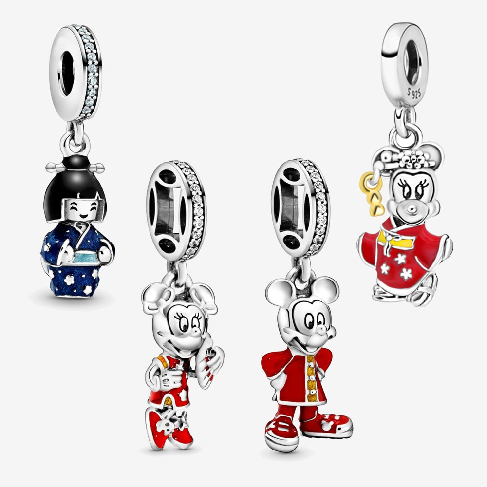 2020 Valentine's Day 100% S925 Silver Beads Cartoon Mouse Kimono Charm fit Original Pandora Bracelets Women DIY Jewelry