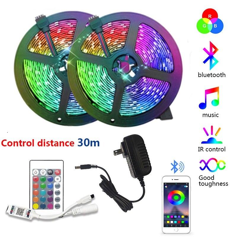 5m 10 15 20m música bluetooth app controle rgb led tira de luz fita flexível 5050smd sala dc12v led lâmpada tira