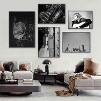Nordique Vintage mode affiche guitare groupe musique toile peinture noir et blanc mur Art imprimer moderne salon decor a la maison