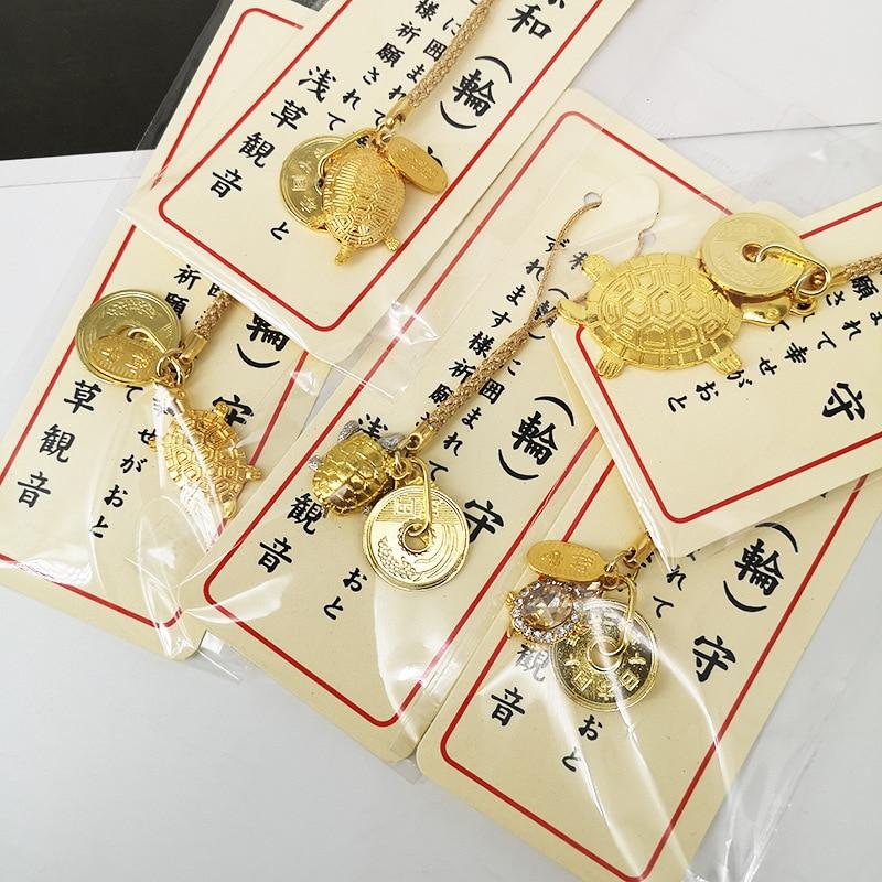 Hombres Mujeres oro de la suerte colgante con forma de tortuga encanto llavero Japón estilos religiosos cadenas de la suerte llevar encantos de la suerte