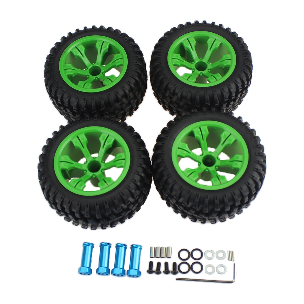 RC Car 110mm High Grip Rubber Tyre & Hub Extension Adapter & Hex Wrench Set for WLtoys 144001 124019 124018 RC Car Off-Road enlarge
