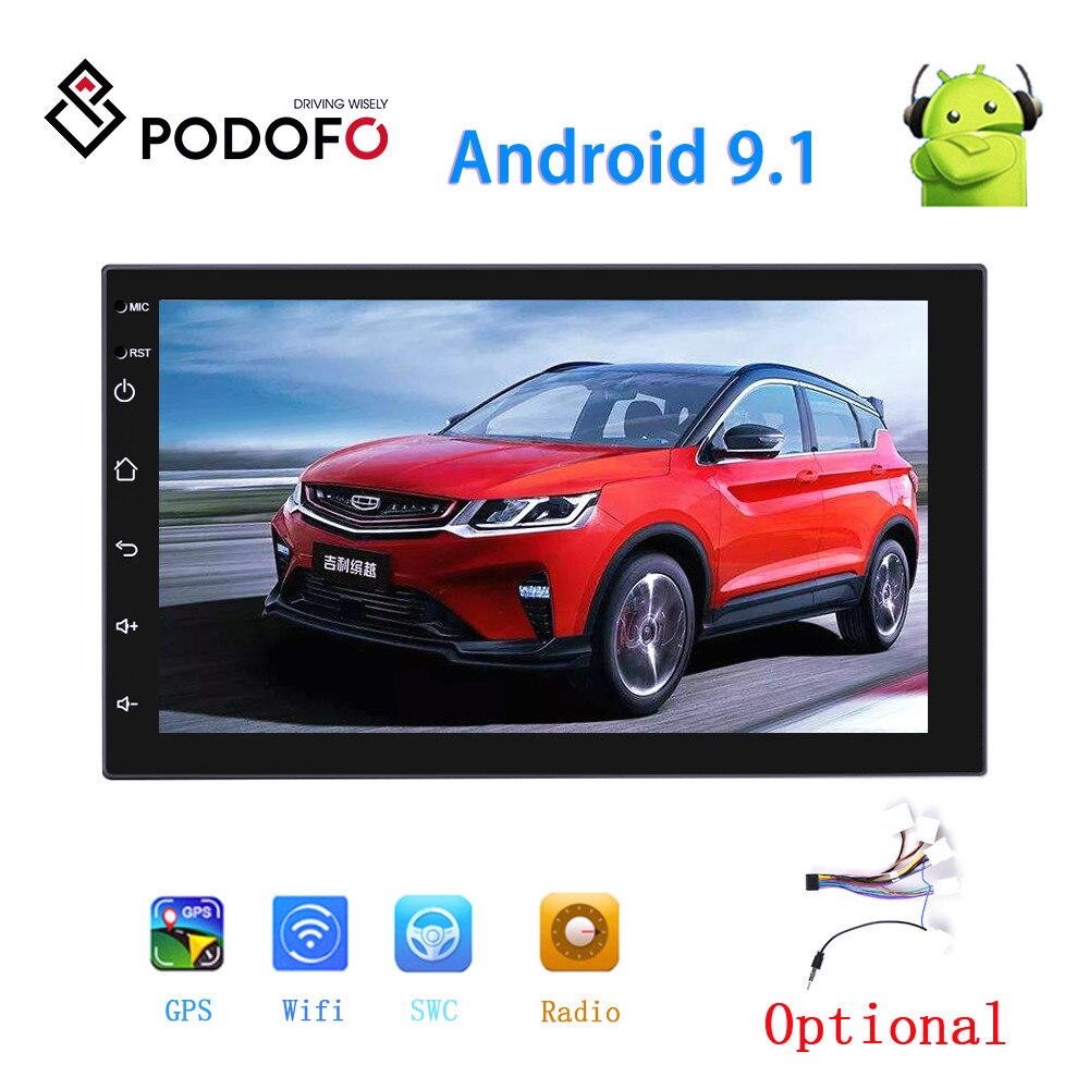 Podofo android 2din rádio do carro navegação gps carro mp5 multimídia player wi fi bluetooth espelho ligação estéreo do carro câmera de visão traseira