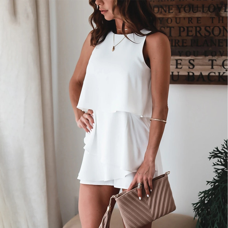 Women Solid Irregular Sleeveless Playsuits 2021 Summer Chic Chiffon O-Neck Layer Ladies Casual White High Street Party Rompers