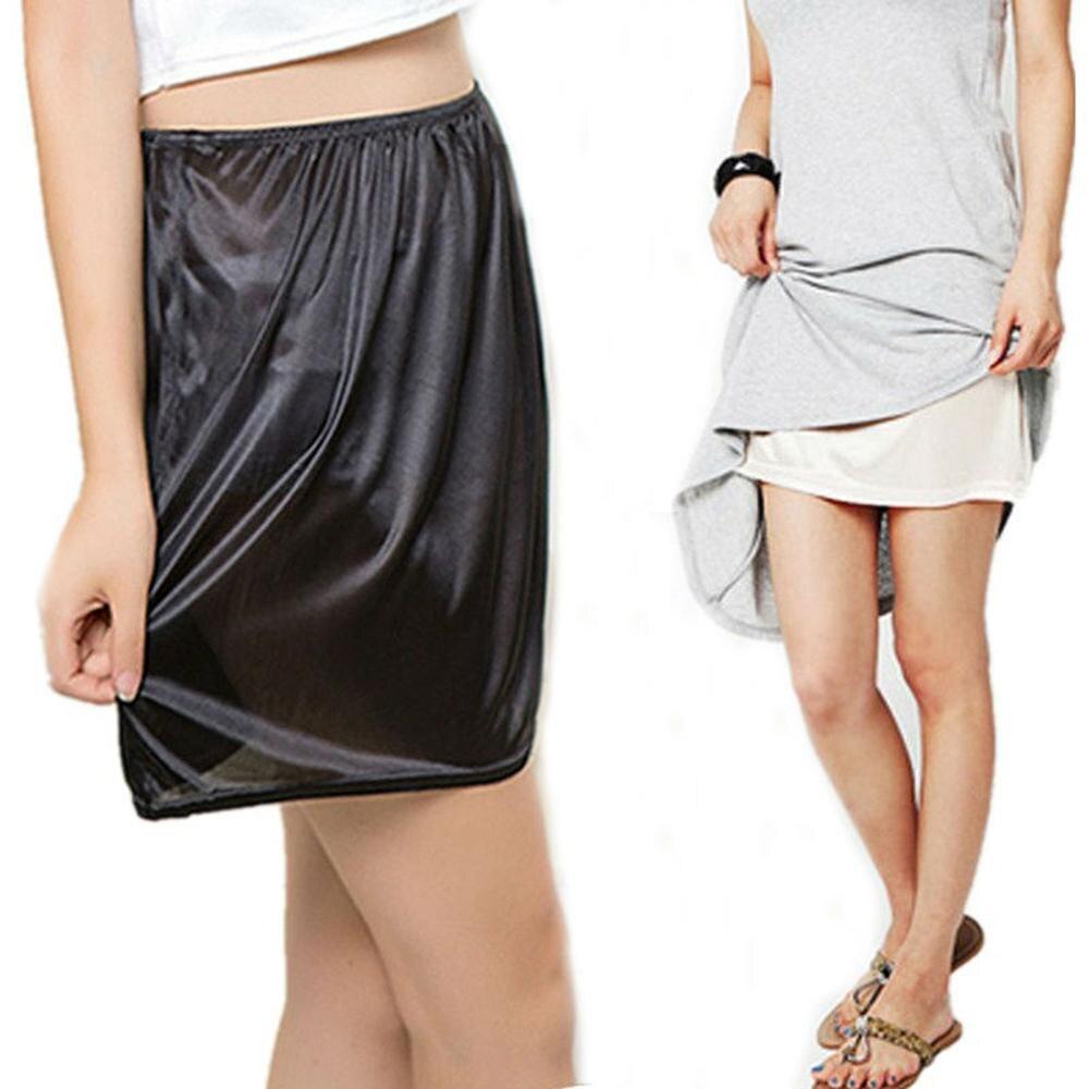 Saia de segurança feminina solta anti-exposição saias de segurança mini saia de cetim metade do deslizamento underskirt petticoat sob o vestido