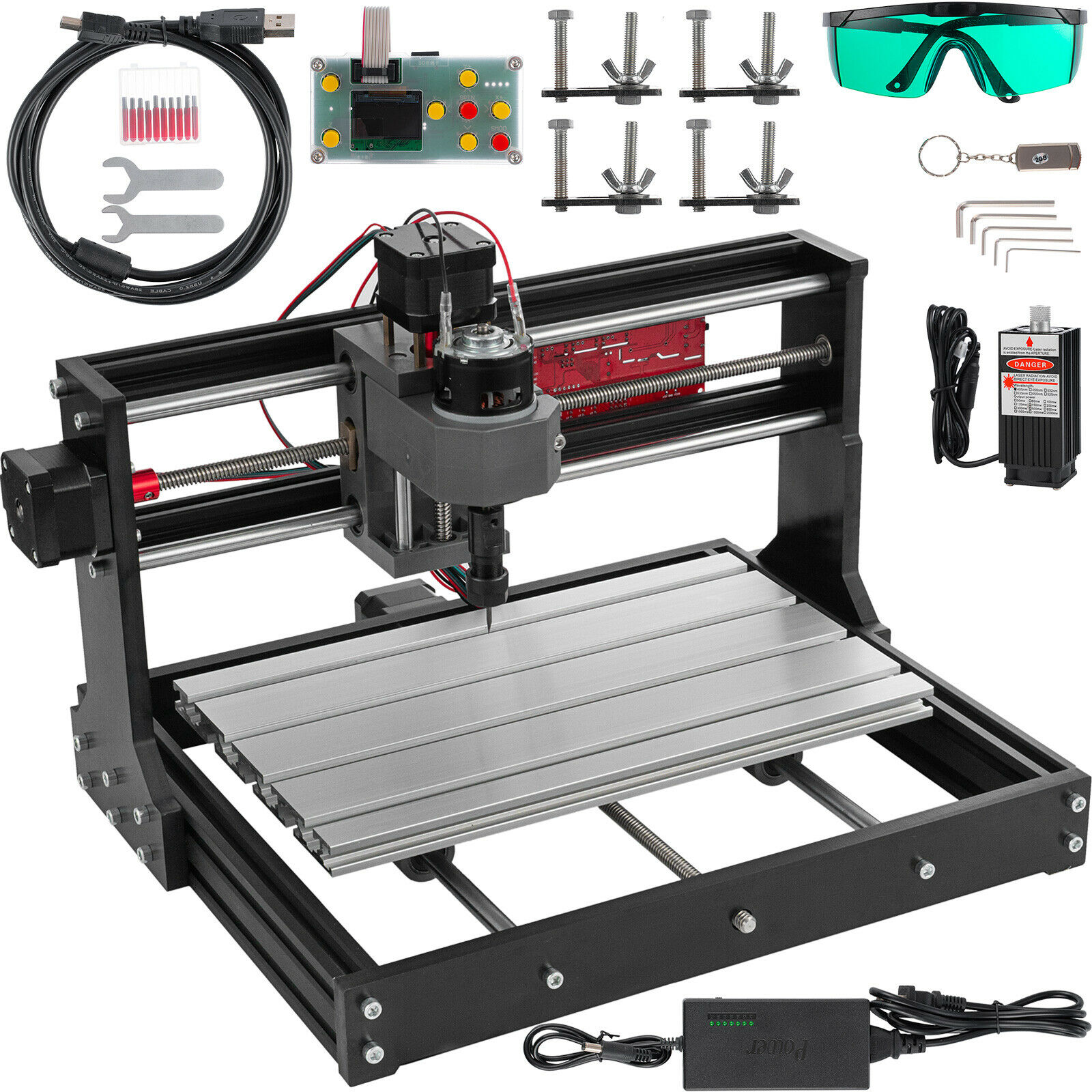 CNC 3018 PRO Laser Engraver Wood Milling Machine Router 3 Axis Engraving PCB PVC Wood DIY Mini Engraving Mill+5500mw Laser Head