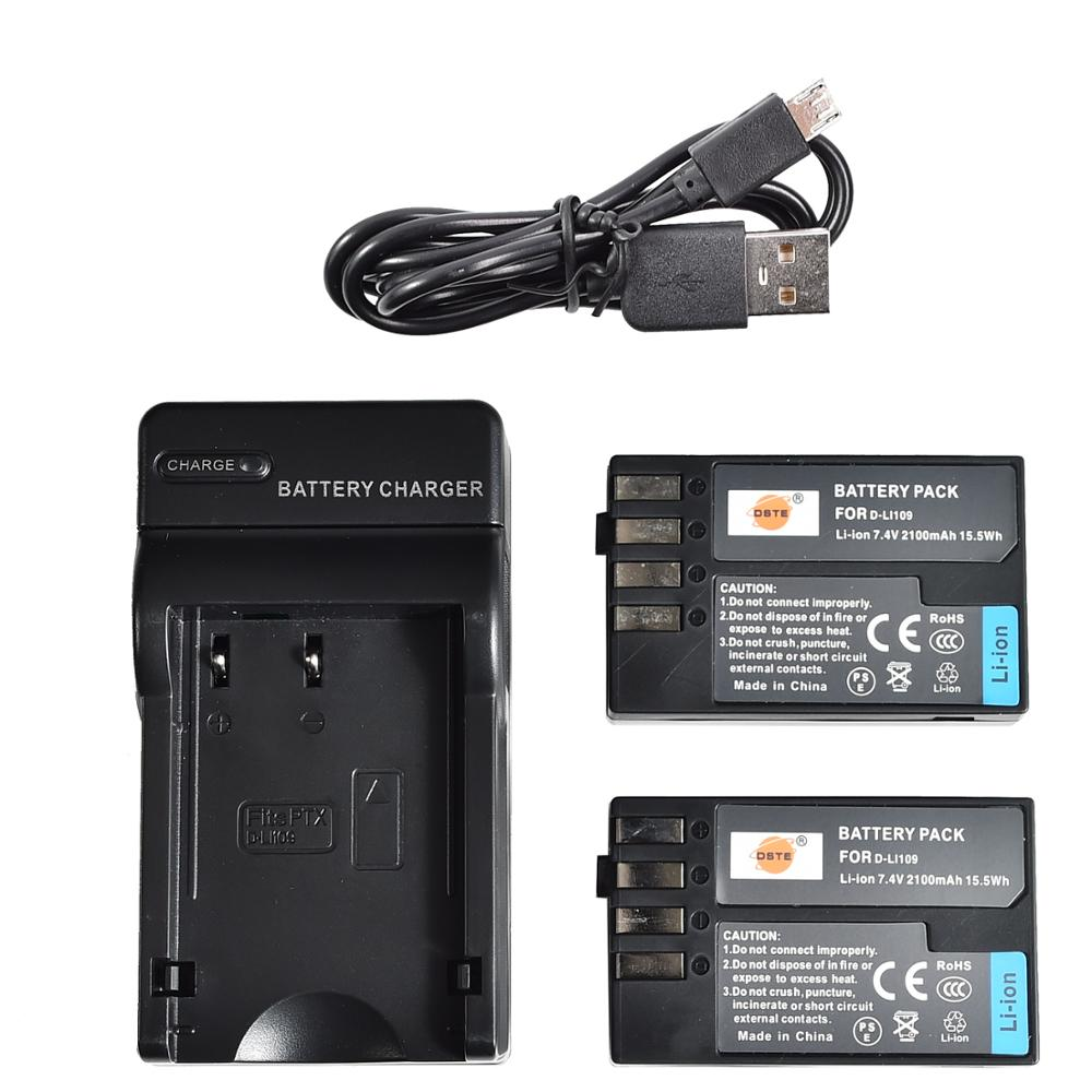 Dste 2x D-LI109 Camera Batterij Met Usb Lader Voor Pentax K-30 K-R K-50 K-500 Camera