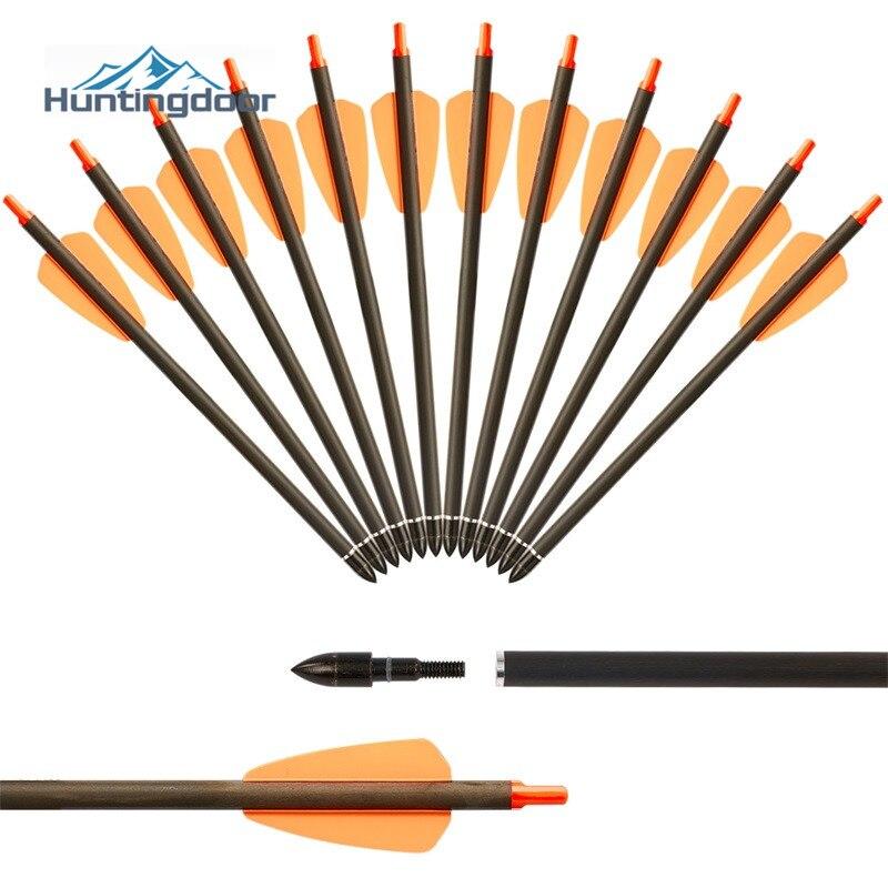 6/12/24 pçs seta de carbono puro 7.5 polegada tactical caça tiro com arco setas coluna 350 duro pequenos parafusos aço arrowhead