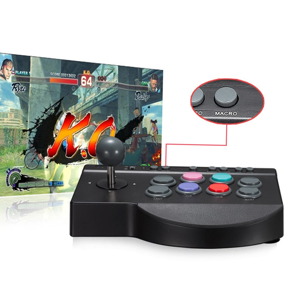 Mando con cable USB para Arcade Fighting, práctico, duradero, palo de botón, Mando de juego multifunción ABS/4 ONE