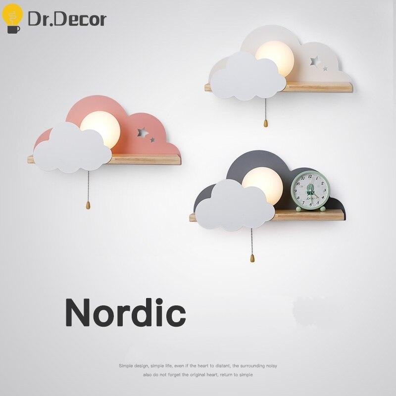 Lámpara de pared LED Macaron moderna, accesorios de iluminación para dormitorio, habitación nórdica para niños, decoración del hogar, lámparas de pared de nubes, candelabros para luces de pared
