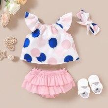 Vêtements pour bébés filles   Ensemble de vêtements pour bébés filles, haut à pois de 18M + short froncé, carters ropa niño Z4
