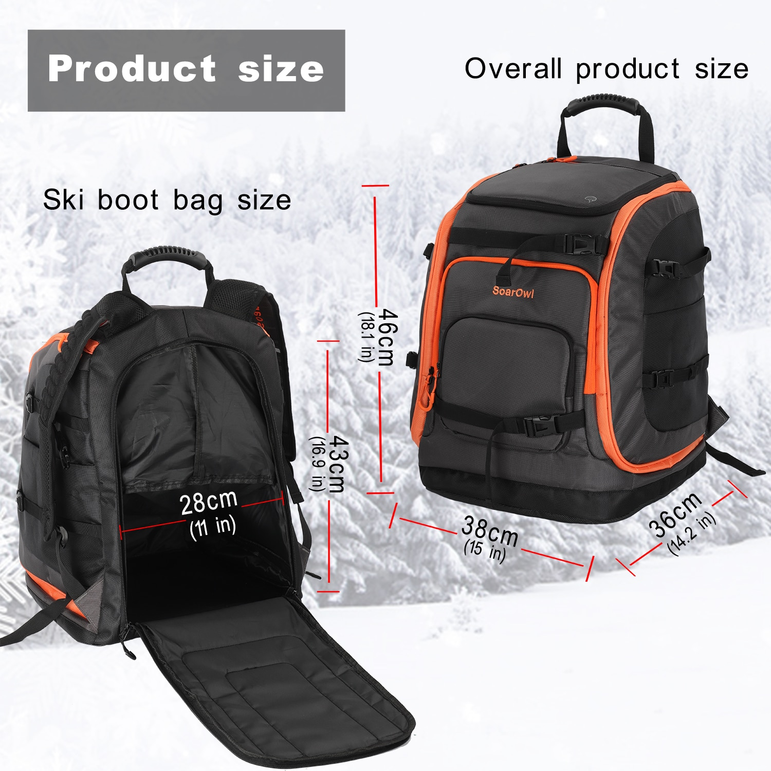 SolarOwl Ski Boot Bag 50L Large Capacity Storage Boots Helmet Clothing Can Be Placed Skis Backpack With Adjustable Waterproof