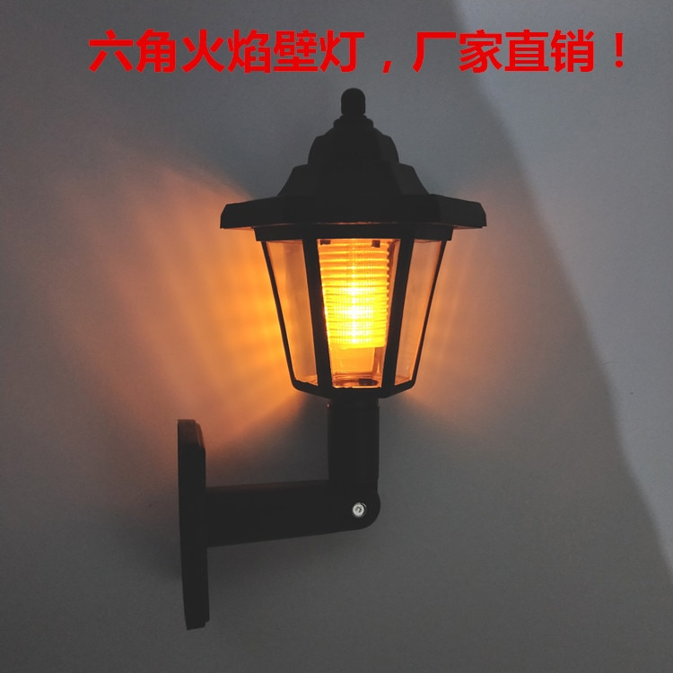 lampada solar chama hexagonal lampada de parede patio ao ar livre 12led lampada do