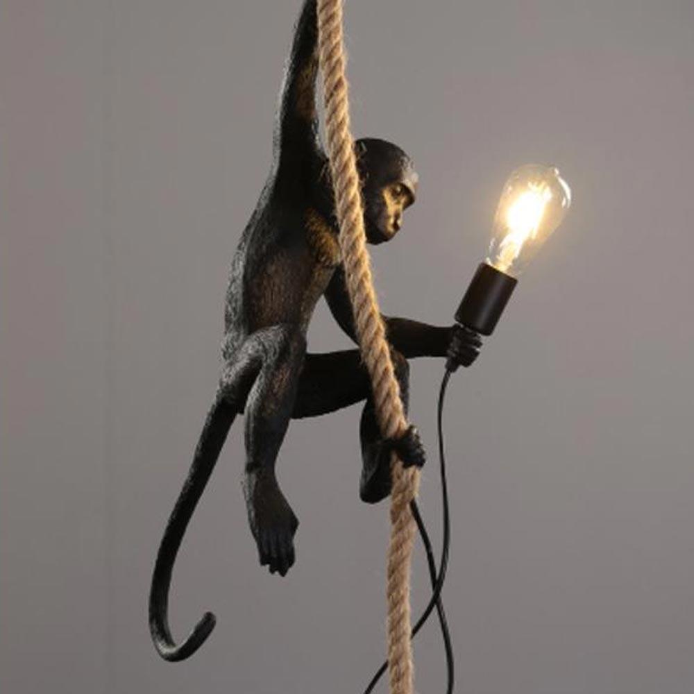 Resin Gold Black White Monkey Lamp Animal Lighting Loft Hemp Rope Pendant Lamp Luminaires Bar Cafe I