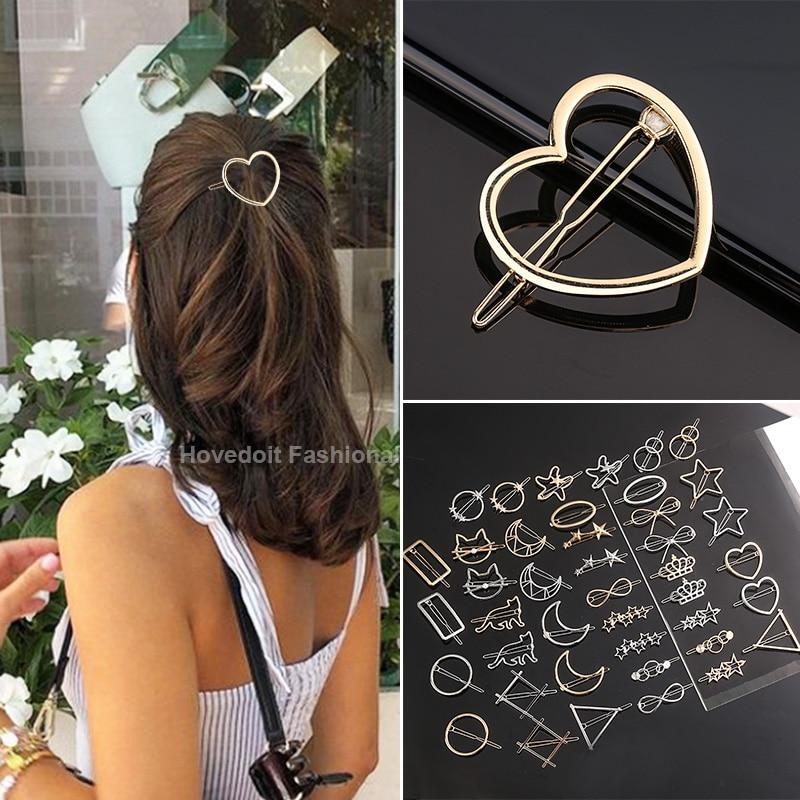 Clip de pelo con forma de corazón para mujer y niña, pasador redondo de estrella elegante, horquillas dulces, accesorios para el cabello