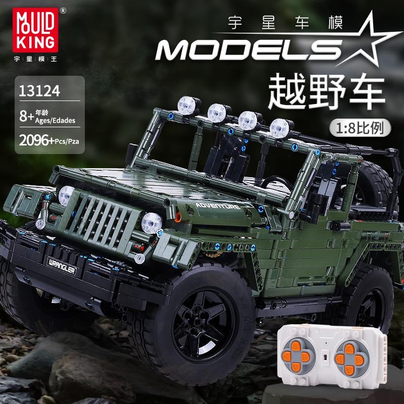 Mould King MOC Technic RC Jeeps Wrangler Adventure Off-vehículo de carretera en miniatura bloques de construcción juguetes compatibles DIY regalo
