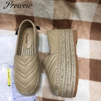 Prowow Summer Genuine Leather Luxury Women Espadrille Slip On Women Platform Loafer Shoes Women Zapatos Mujer