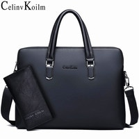 Celinv Koilm Men Leather Briefcase Bag Business Famous Brand Shoulder Messenger Bags Office Handbag 14 inch Laptop High Quality