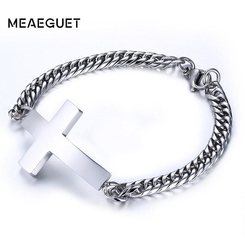 Brazalete lateral cruzado brazalete de acero inoxidable para hombre, de Color plateado eslabones de cadena, joyería cristiana de fe para regalo Masculino