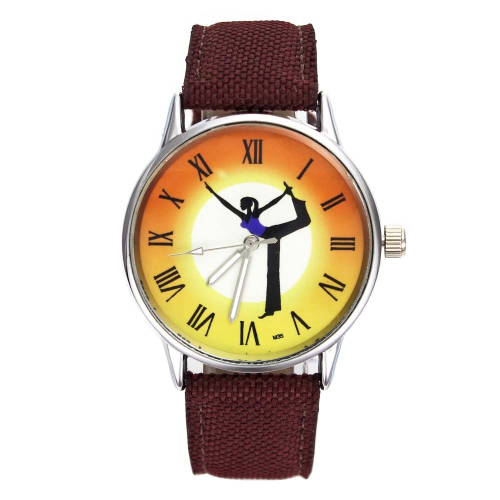 Yoga Exercise Balance Life Energy Fitness Healthy Newest Colorful Casual Fashion Canvas Strap Sport Wrist Watches for Women Men 37cm universal healthy wobble balance board stability disc yoga sport training fitness exercise waist wriggling round plate game