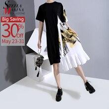 Yeni 2020 Hit renk tasarım kadın yaz siyah Patchwork elbise Sashes ile bir boyut baskılı Midi bayan rahat elbise Robe Femme 6221