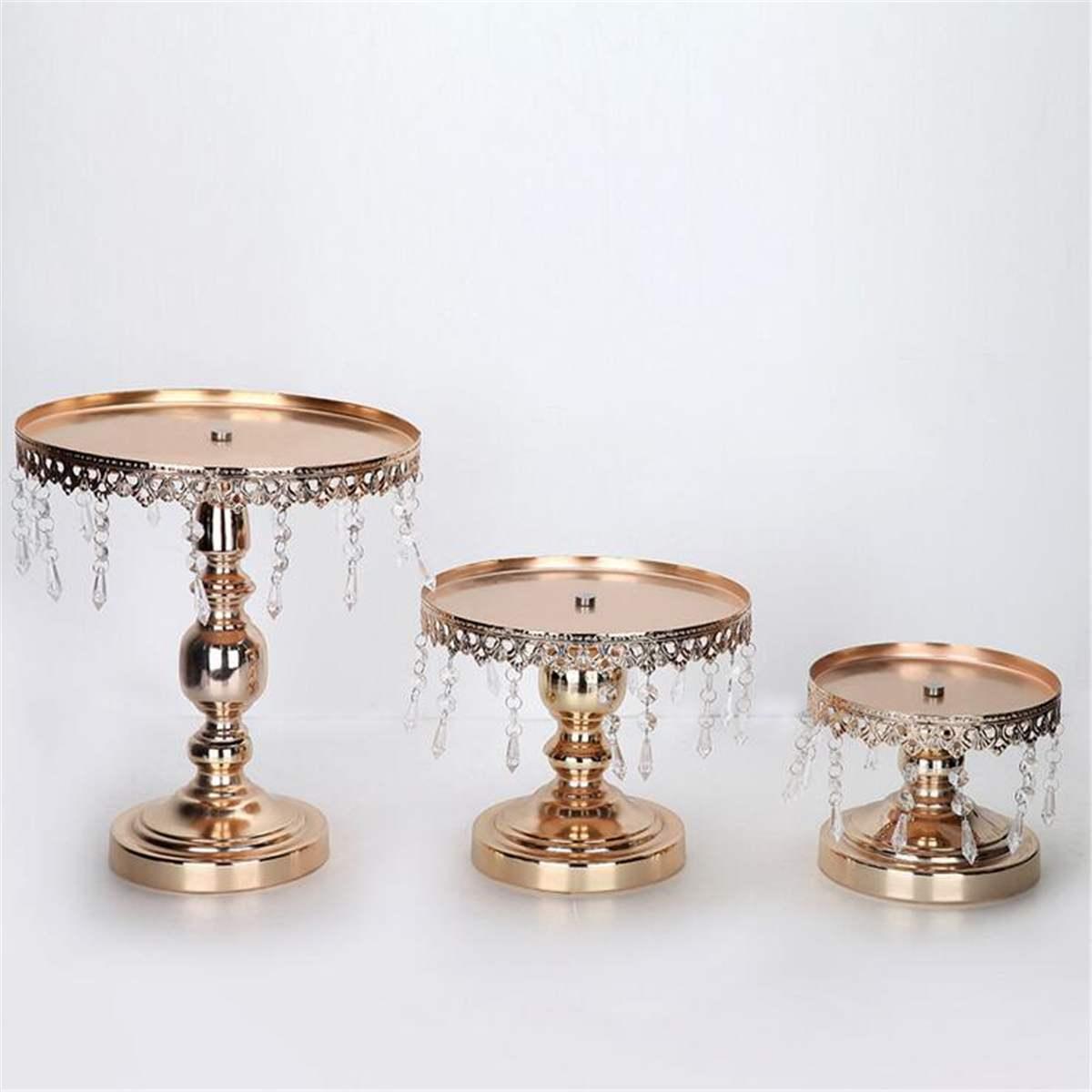 3 unids/set de bandeja de Metal dorado de boda, soporte de hierro para pastel, accesorios de mesa, adornos de cristal, plato de pastel de fruta, postre, herramientas de comida