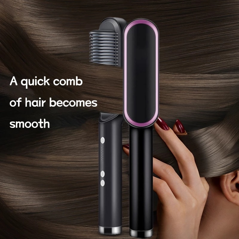Dropshipping 2 in 1 Hair Straightener Curler Brush Styler Comb