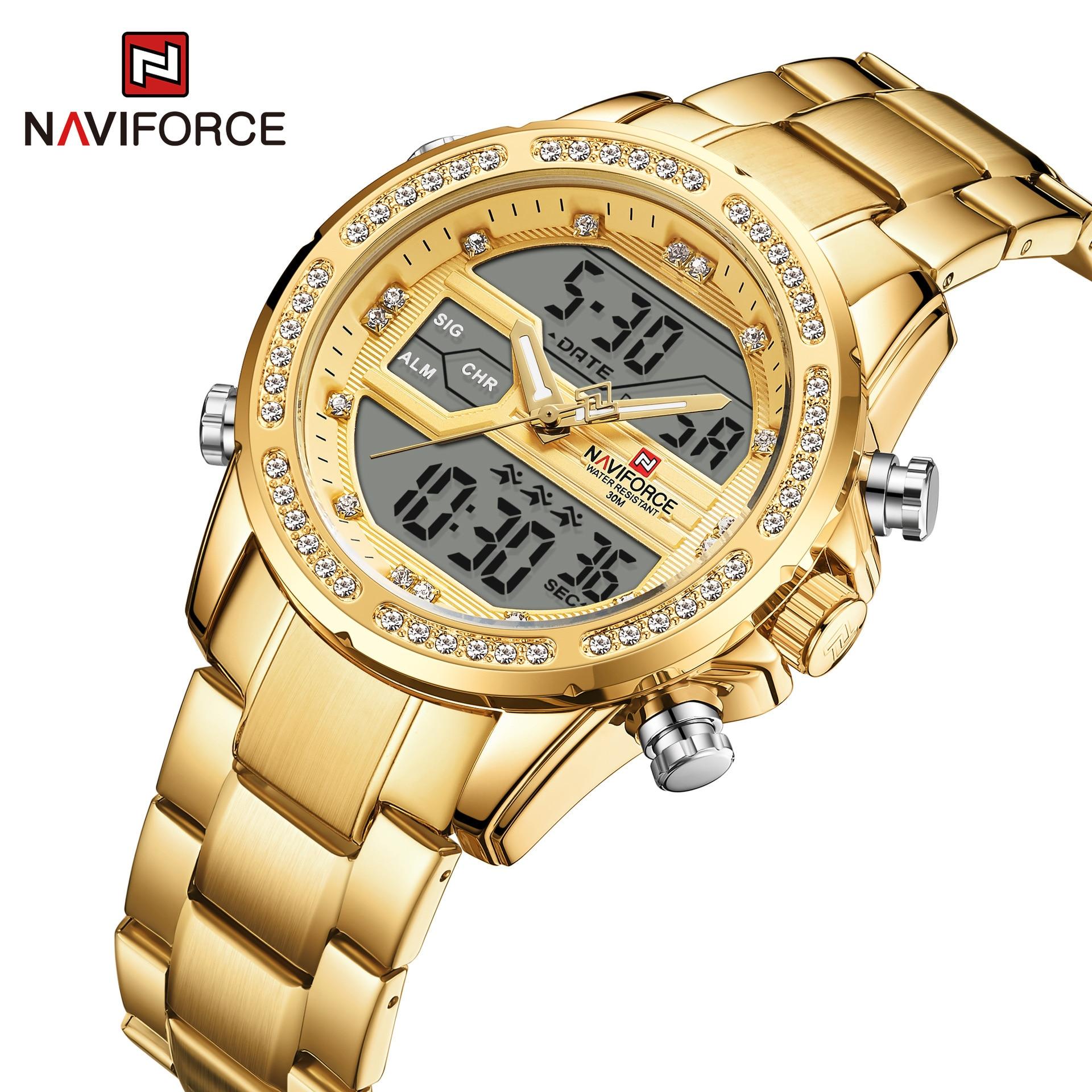 Relógio de Aço Negócios Quartzo Relógio Masculino Inoxidável Esportivo Naviforce9190