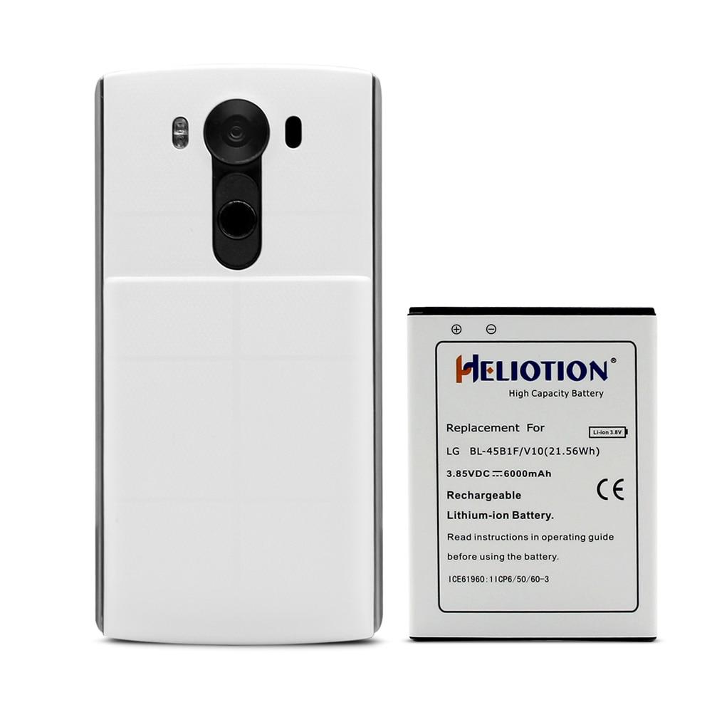 Heliotion 6000 مللي أمبير بطارية ل LG V10 قدرة عالية استبدال البطارية مع غطاء أسود الحال بالنسبة لنوع VS990 H901H961 Bl-45B1F