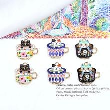 40 pièces/lot mignon chats motif impression dessin animé tasse à thé chat forme alliage flottant médaillon breloques bijoux à bricoler soi-même boucle doreille/porte-clés accessoire