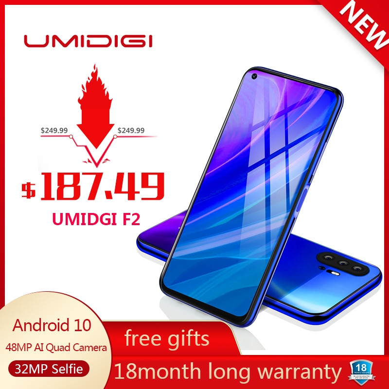"UMIDIGI F2 Phone Android 10 Global Version 6.53"" FHD+ 6GB 128GB 48MP AI Quad Camera 32MP Selfie Helio P70 Cellphone 5150mAh NFC"