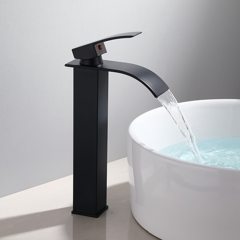 Basin Faucet Black Waterfall Faucet Mixer Tap Brass Bathroom Faucet Bathroom Basin Faucet Mixer Tap Hot and Cold Sink faucet enlarge