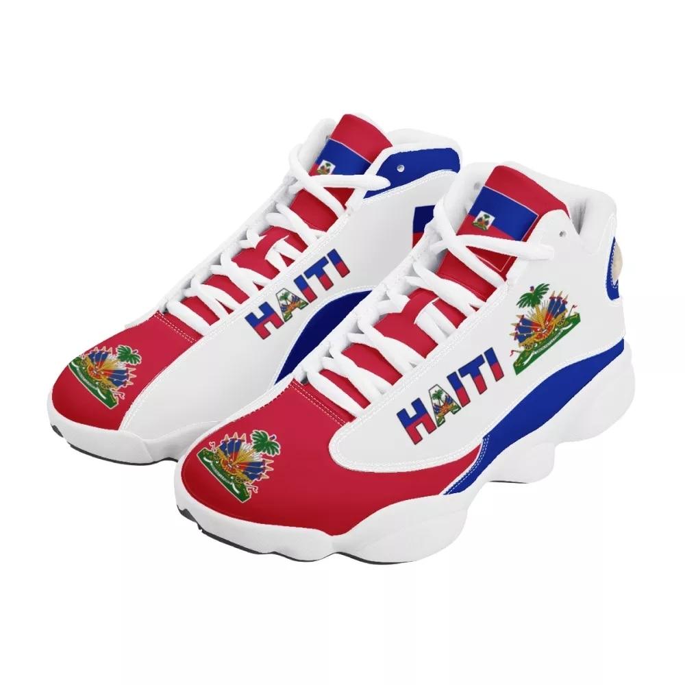 Noisydesigns ملابس كرة السلة للرجال أحذية رياضية طباعة على الطلب هايتي العلم الوطني مطبوعة عادية عالية كبار الرجال في الهواء الطلق حذاء مريح