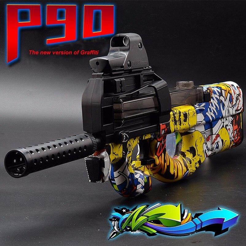 Eléctrico P90 pistola de juguete Graffiti de agua suave pistola de bola de Gel pistola de juguete al aire libre CS asalto batalla juguete de francotirador arma Nieto sobrino regalo