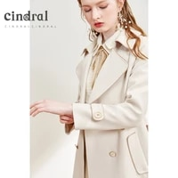 2021 spring new windbreaker medium length fashion solid color double breasted temperament simple coat for women