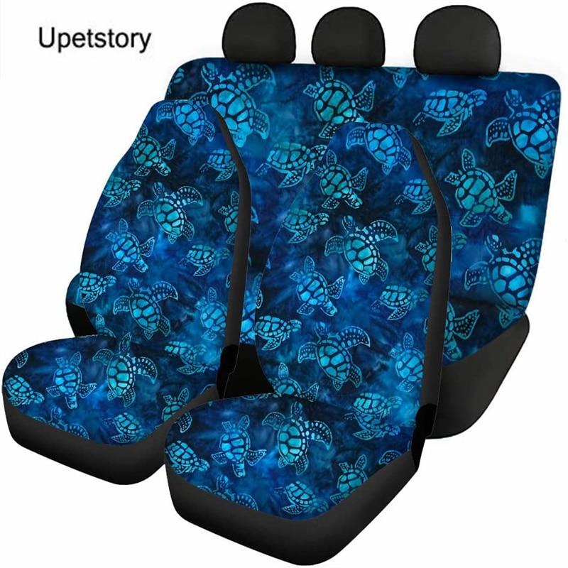 Upetstory مجموعة كاملة غطاء مقعد السيارة بولينيزيا البحر السلاحف تصميم العالمي مقاعد السيارة حماية/وسادة ل عربات SUV مخصصة